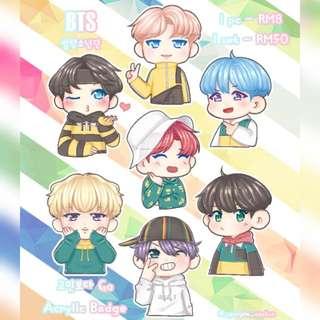 BTS Go Go Acrylic Badges