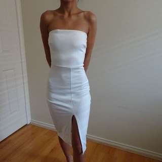 White high slit dress