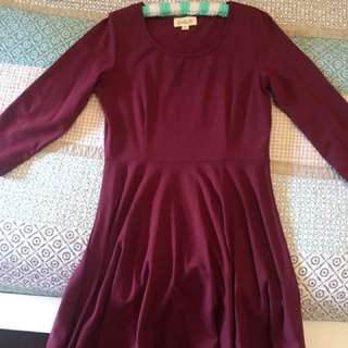Maroon 3/4 sleeve dress