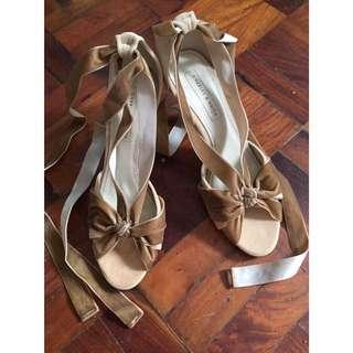 CHARLES&KEITH Brown Velvet Ribbon Heels