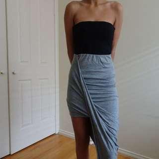 Grey twist skirt