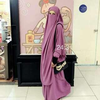 [Pre Loved] French Jilbab Set in Dusty Purple