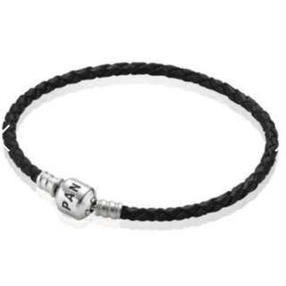 Pandora - Black woven leather bracelet