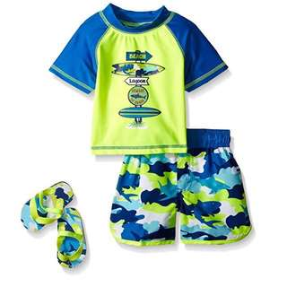 BN Baby Boy Pop Camo Shark Rashguard Swim Set With Flip Flops 24mths!