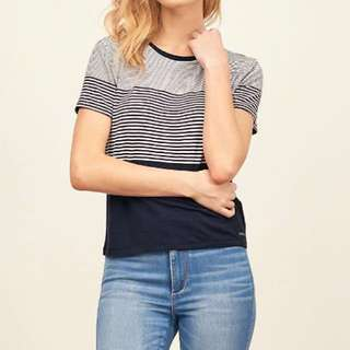 Abercrombie And Fitch Stripe Crew Neck Tee
