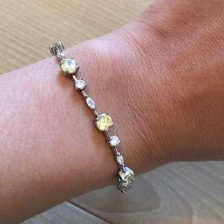 White and Yellow Diamond Silver Bracelet