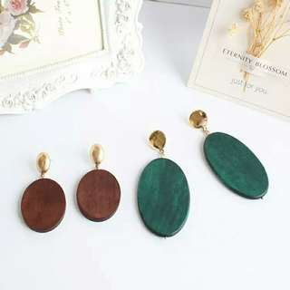 日本原木染色復古咖啡綠橢圆形耳環耳夾耳針