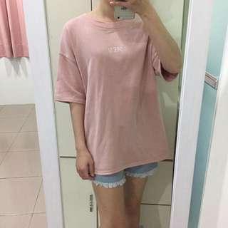 粉色長版上衣