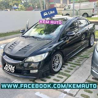 Modded Honda Civic 2.0M FD2 manual for car rental (fujitsubo exhuast, coilover, enkei rims)