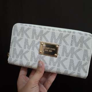 Michael Kors long wallet white with gold hardware