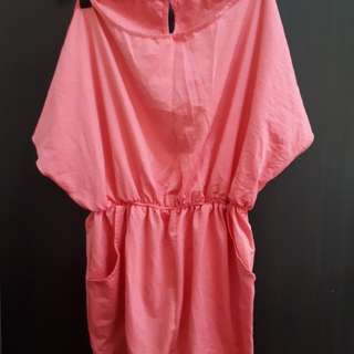 Baby pink satin or silk dress garterized with pockets