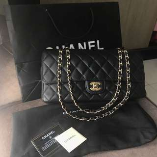 Authentic chanel large black lambskin ghw