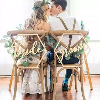 (P.O) Bride Groom / Mr Mrs/ Customise Couple Names Wooden Wedding Chair Sign / Decoration