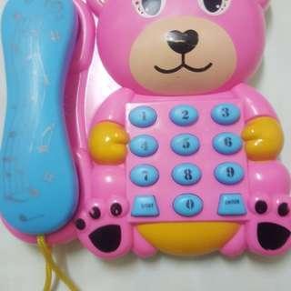 🚚 粉紅小熊電話聲光音樂玩具