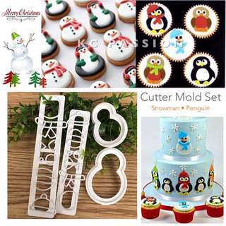 ⛄️ SNOWMAN • CHRISTMAS THEME • PENGUIN CUTTER MOLD SET TOOL  Cake Decorating Tool for Cookies • Fondant Cake & Cupcake • Bread Dough • Pastry • Sugar Craft • Jelly • Gum Paste • Polymer Clay Art Craft •