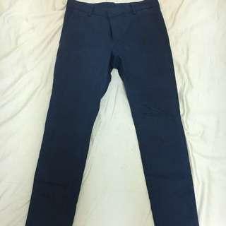 SALT Avenue 韓版修身深藍西裝褲