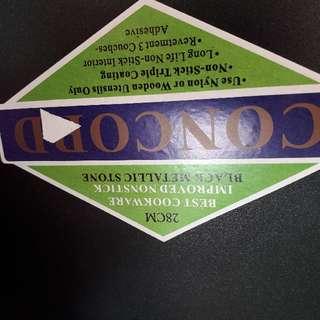 KUALI nOn stick ( 28cm) -FREE periuk pnutup kaca ( 25CM)