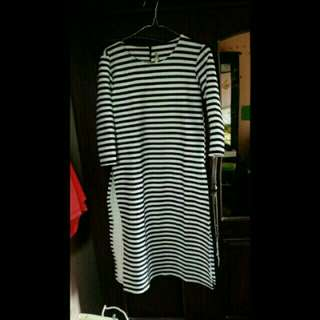 FREE ONGKIR-Slit stripe dress