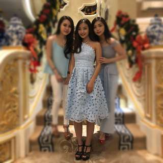 Dress eternel biru blue lace gaun pesta