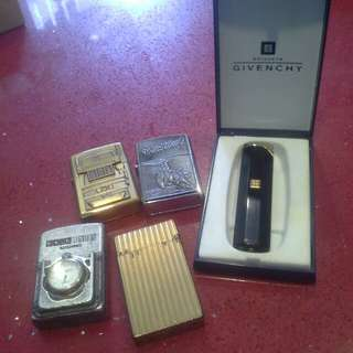 Dupont cigarette lighter  givenchy and 3 zippo