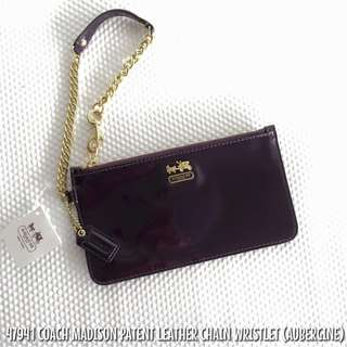 47941 COACH MADISON PATENT LEATHER CHAIN WRISTLET (AUBERGINE)