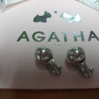 AGATHA Paris 8mm ball clip 純銀耳環