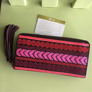 SL7241995 FOSSIL EMMA RFID LARGE ZIP CLUTCH RED MULTI