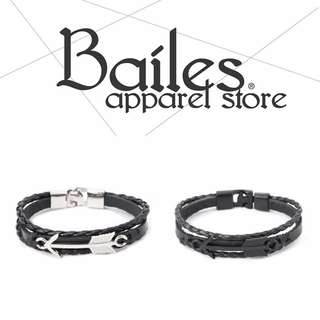 貝里斯Bailes【AW010】日韓版 / 配件款 韓國復古牛皮繩銀飾雙色配色男女款手環 手繩