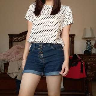Hardware blouse polkadot