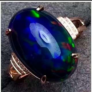 Natural Australian Black Opal Ring
