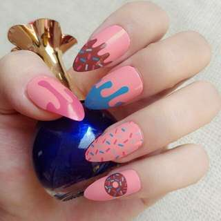 Sweet Donuts Short Fake Nail Orange Pink Stiletto Nails DIY Acrylic False Nail Tips Press On Nail 24Pcs Z130
