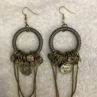 Fashion gold coins and chains earrings