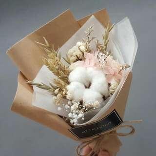 Mini Contton Flower Bouquet - With Preserved Hydrangea Flower