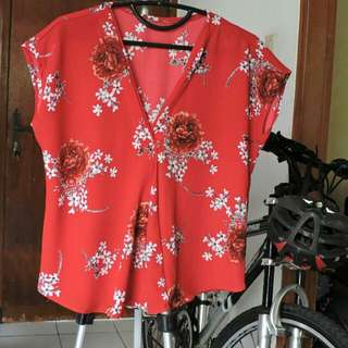 Blouse Merah Allsize fit to M