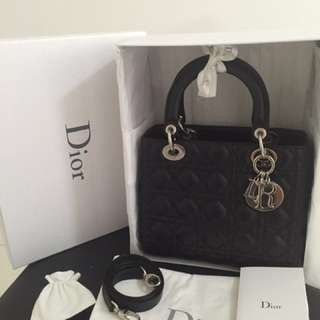 DIOR Lady Dior lambskin in black
