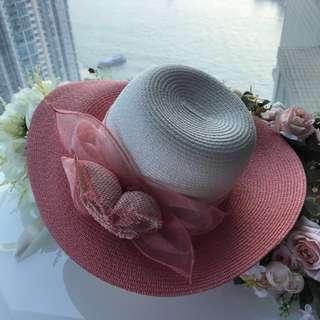 Pink & white hat 靚靚草帽👒
