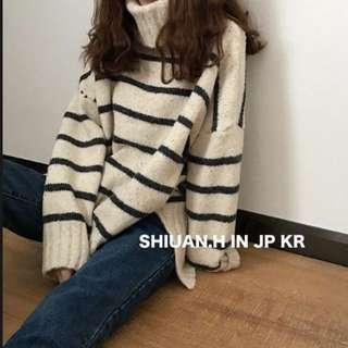 KR 2017 11月韓國帶回秋冬新款簡約套頭高領横條紋針織衫側開叉中長款針織毛衣