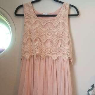 Beige pink valleygirl lace dress