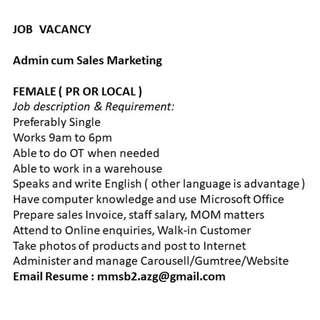 Admin Cum Sales and Marketing