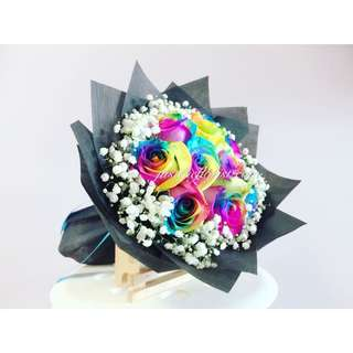 Fresh rainbow roses with delivery