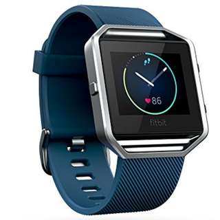 Fitbit Blaze Smart Fitness Watch, Blue, Silver, Large