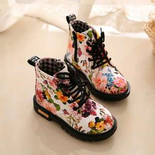Kids Floral Ankle Boots
