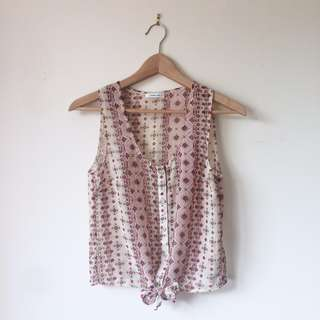 Patterned sleeveless tie top