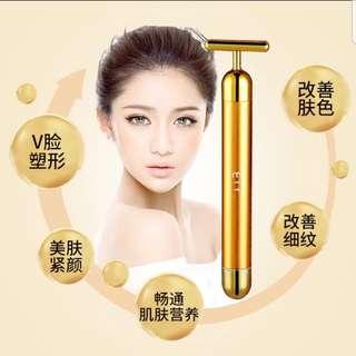 ETT24k色黄金电动美容棒3D瘦脸神器紧致美容仪淋巴脸部按摩器