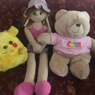 Teddy Bear, Little Girl, & Pikachu Doll / Boneka Beruang, Perempuan
