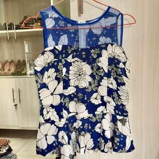 Blue flowers organza