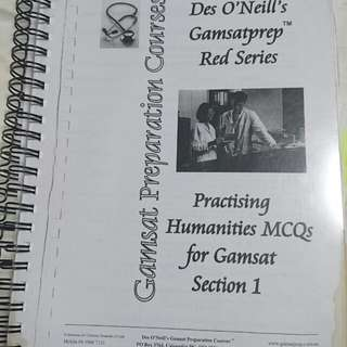 Des O'Neils Gamsat Prep Humanities MCQ and the older science MCQ