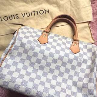 Authentic Louis Vuitton LV Damier Azur speedy 30 tote bag