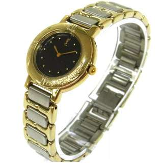 YSL vintage quartz silver gold watch