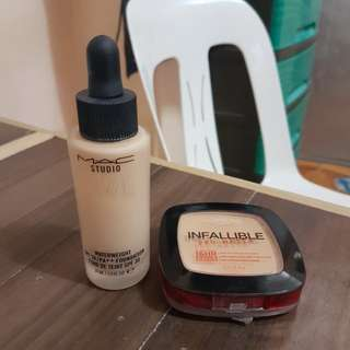-BUNDLE- Authentic Mac Foundation Dropper SPF30 30ML(NC20) & Loreal Paris Infallible Pro-Matte Powder 16HR(Sun Beige) 9g